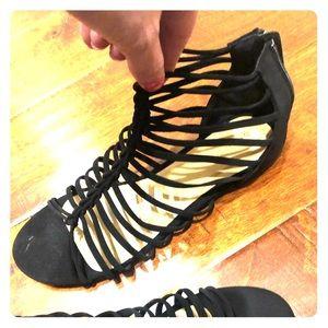 Black soft straps sandals